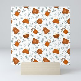 Stylish handle feminine bags pattern Mini Art Print
