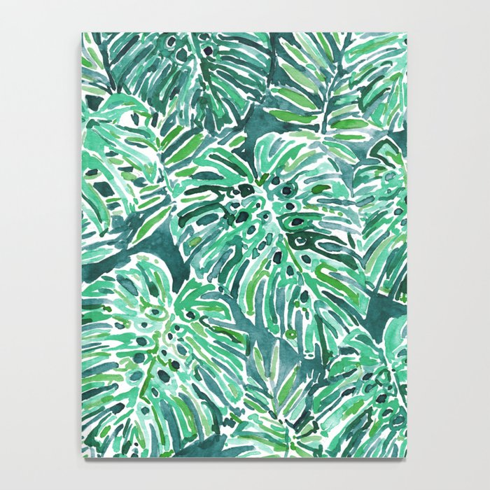 JUNGLE VIBES Green Monstera Watercolor Print Notebook