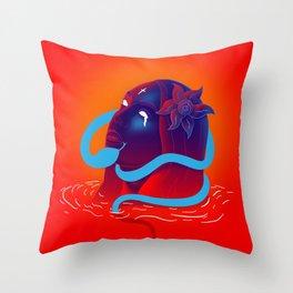BLUE FACE & SNAKE Throw Pillow