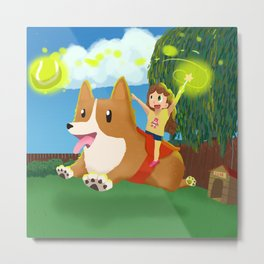 Play fetch Metal Print