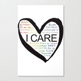I CARE (PRIDE BLK) Canvas Print