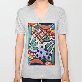 Colorful Talavera, Orange Accent, Mexican Tile Design Unisex V-Neck