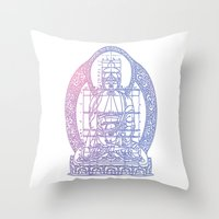 sacred geometry Throw Pillows featuring Sacred Geometry 2 by Hazel Bellhop