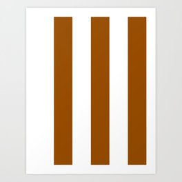Wide Vertical Stripes - White and Brown Art Print