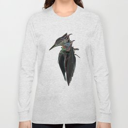Kingfisher 1d. Color lines on black background-(Red eyes series) Long Sleeve T-shirt