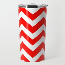 Candy apple red - red color - Zigzag Chevron Pattern Travel Mug