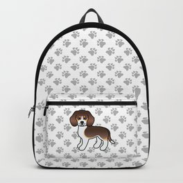 Cute Chocolate Tricolor Beagle Dog Cartoon Illustration Backpack