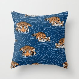 Tigers in the water Throw Pillow