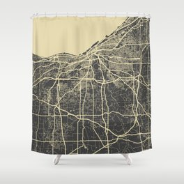 Cleveland map yellow Shower Curtain