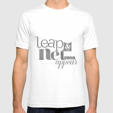 leap & the net will appear Mens Fitted Tee White MEDIUM