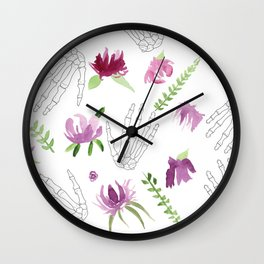 Picking Purple Flowers Wall Clock