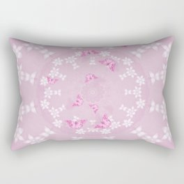 Pretty pink butterflies on flower mandala Rectangular Pillow