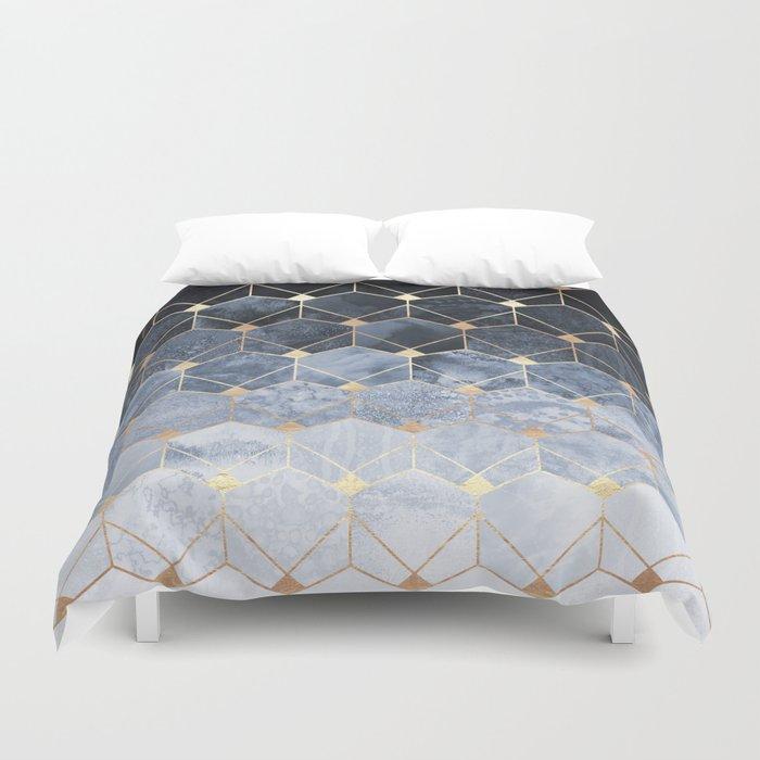 Blue Hexagons And Diamonds Bettbezug