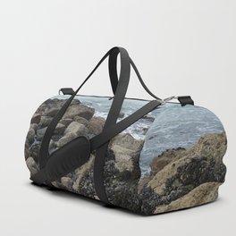 Waves Crashing on Seaweed Covered Rocks Duffle Bag