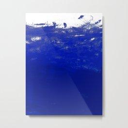 Water waves ocean sea bright blue modern painting minimal monochromatic urban dorm college art Metal Print