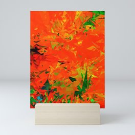 geometric triangle pattern abstract in orange green Mini Art Print