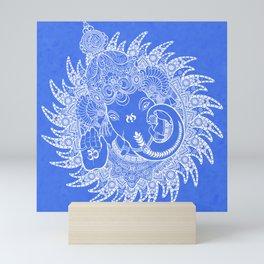 Ganesha Lineart Blue White Mini Art Print