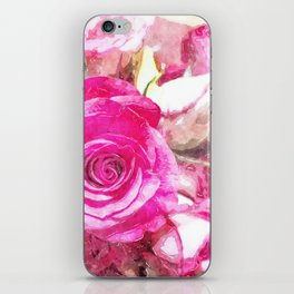 Bunch of Pink roses (watercolour) iPhone Skin