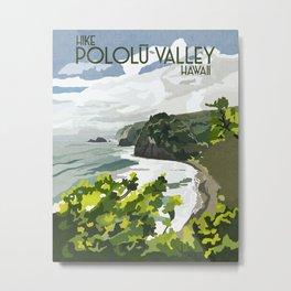 Pololu Valley Hawaii Vintage Print Metal Print
