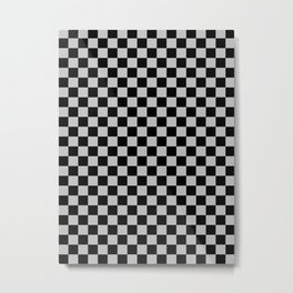 Black and Gray Checkerboard Metal Print
