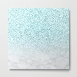 Turquoise Glitter and Marble Metal Print
