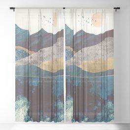 Blue Mountain Reflection Sheer Curtain