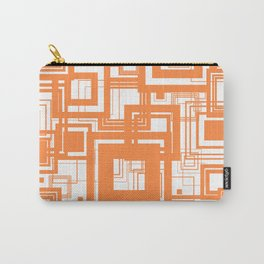 Mid Century Modern Muted Orange 1970s Style Retro Geometric Squares Carry-All Pouch