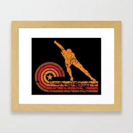 Retro Style Speed Skater Vintage Speed Skating Framed Art Print