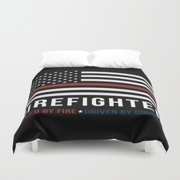Fueled By Fire (Thin Red Line) Duvet Cover