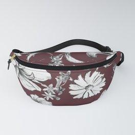 Burgundy Floral Vintage Style Pattern Fanny Pack