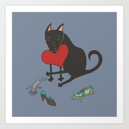 Black Dog Love Art Print