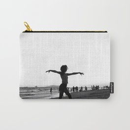 Vintage Surfer Girl | California Ocean Dancing on Huntington Beach Black and White Silhouette Carry-All Pouch