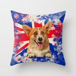 Corgi Portrait with Britain Flag Throw Pillow