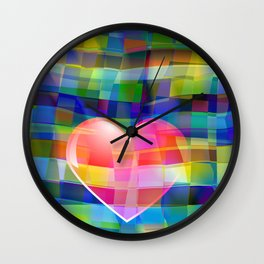 Heart on Multicolored Tile Pattern Wall Clock
