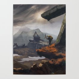 Stone valley | Fantasy landscape concept art Poster