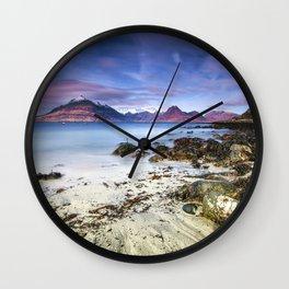 Beach Scene - Mountains, Water, Waves, Rocks - Isle of Skye, UK Wall Clock