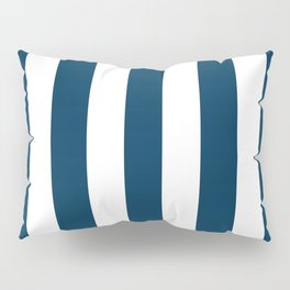 Prussian blue - solid color - white vertical lines pattern Pillow Sham