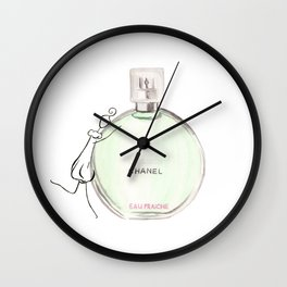 Green parfum with girl Wall Clock