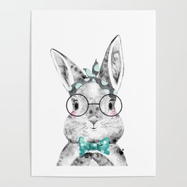 Bunny with Scarf and Bowtie Poster