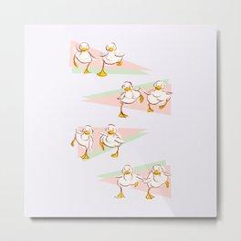 Ducklings on the Run Metal Print