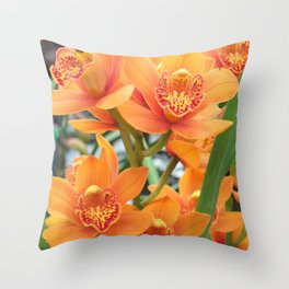 Orchid in Orange Throw Pillow