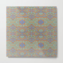 Orange and blue abstract pattern in eastern style Metal Print