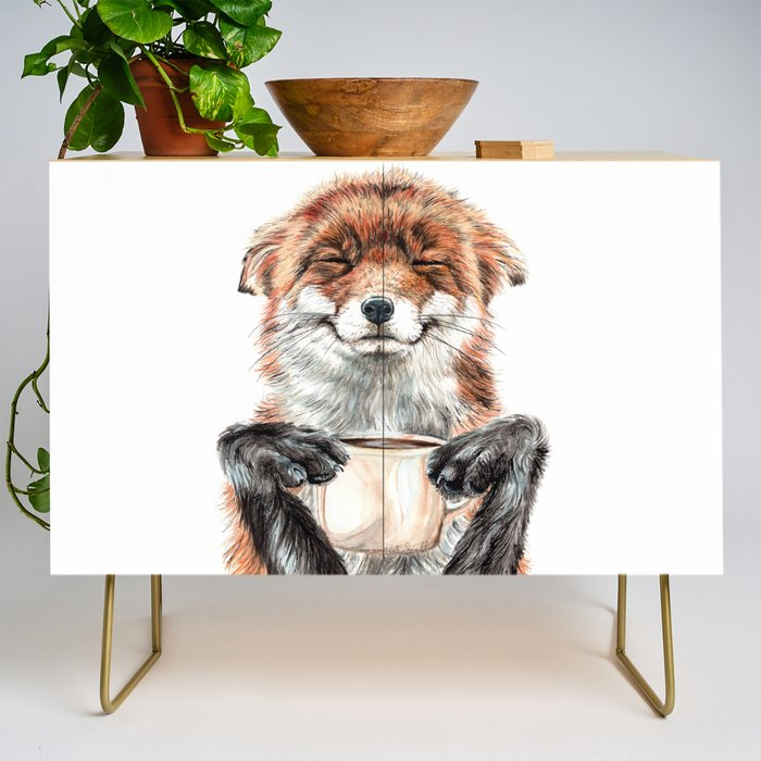 """ Morning fox "" Red fox with her morning coffee Credenza"