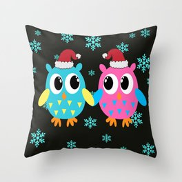 Xmas Owls in the Snow Throw Pillow