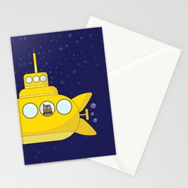 Yellow submarine in deep sea with a cat and bubbles Stationery Cards