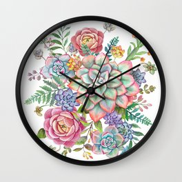 Watercolor Succulent #40 Wall Clock