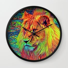 AnimalColor_Lion_004_by_JAMColors Wall Clock
