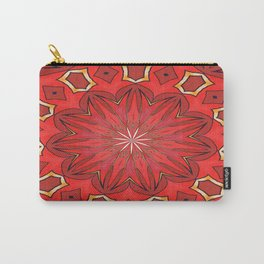Shades of Red Bold Kaleidoscope Pattern Carry-All Pouch