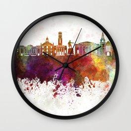 Aberdeen skyline in watercolor background Wall Clock