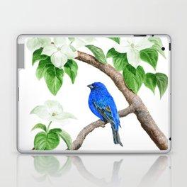 Royal Blue-Indigo Bunting in the Dogwoods by Teresa Thompson Laptop & iPad Skin